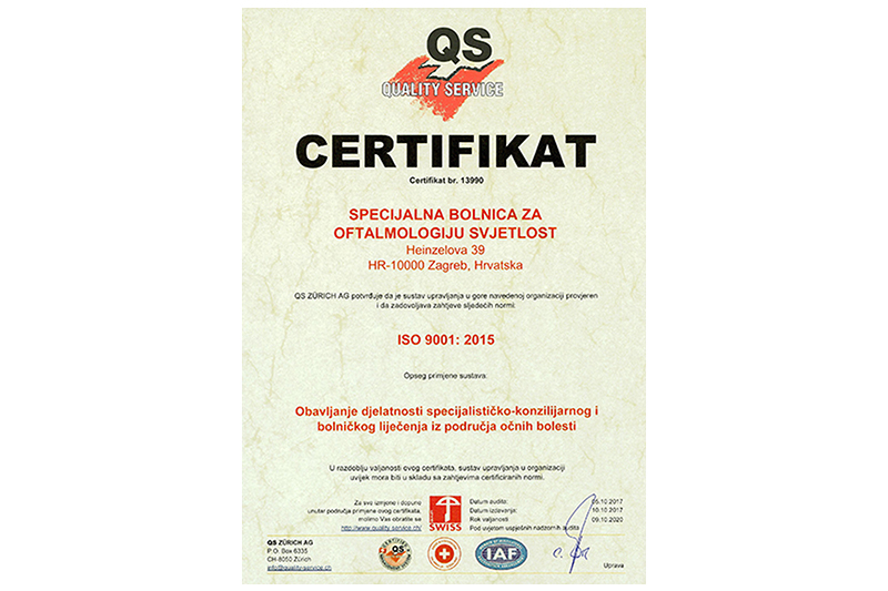 Svjetlost Clinic is certified according to the Quality Management System ISO 9001: 2015